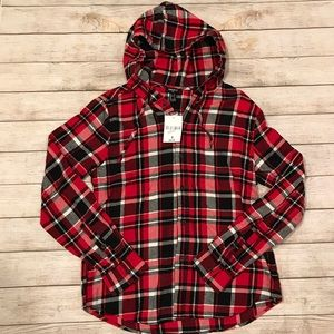 NWT Forever 21 Men Hooded Flannel Shirt Size S